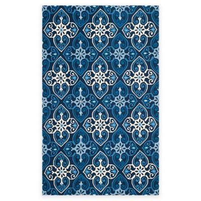 Safavieh Four Seasons Star Tile 5-Foot x 8-Foot Indoor/Outdoor Area Rug in Ivory/Navy