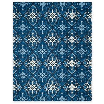 Safavieh Four Seasons Star Tile 8-Foot x 10-Foot Indoor/Outdoor Area Rug in Ivory/Navy