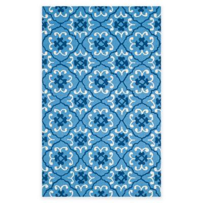 Safavieh Four Seasons Fleur 5-Foot x 8-Foot Indoor/Outdoor Area Rug in Blue/Ivory