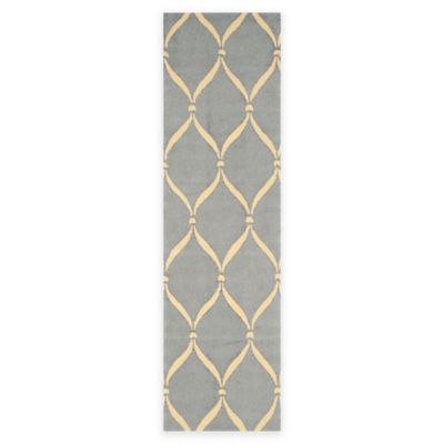 Safavieh Four Seasons Net 2-Foot 3-Inch x 8-Foot Indoor/Outdoor Runner in Light Blue/Ivory