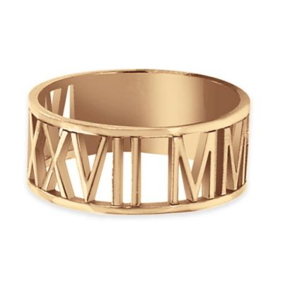 Alison & Ivy® 24K Rose Gold-Plated Sterling Silver Laser Cut Roman Numeral Ring