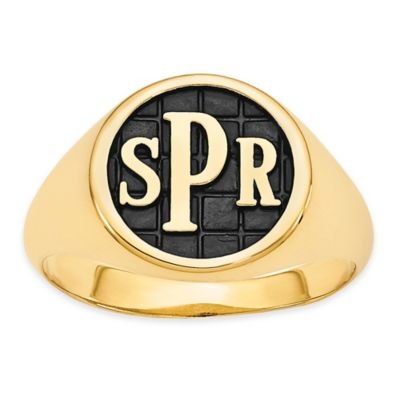 Yellow Gold Plated Ladies' Block Initial Tile Signet Ring