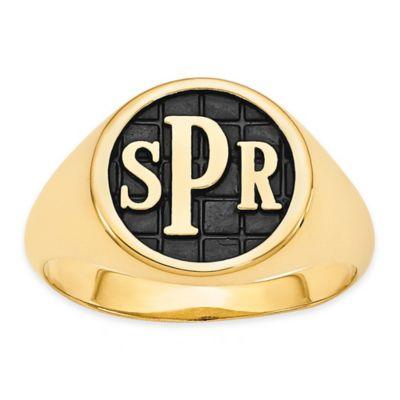 14K Yellow Gold Ladies' Block Letter Tile Signet Ring