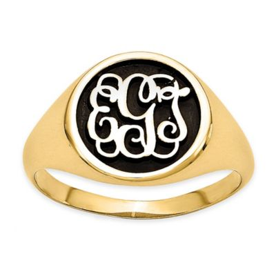 Gold-Plated Sterling Silver Ladies Script Letters Ring
