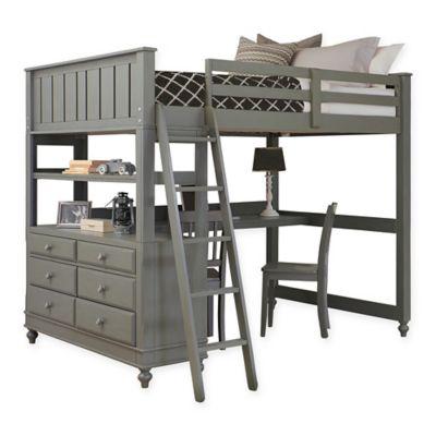 NE Kids Lake House Full Loft Bed with Desk in Stone