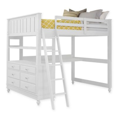 NE Kids Lake House Full Loft Bed with Desk in White