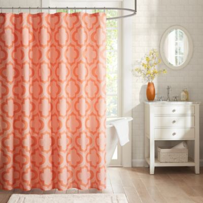 Coral/White Shower Curtains