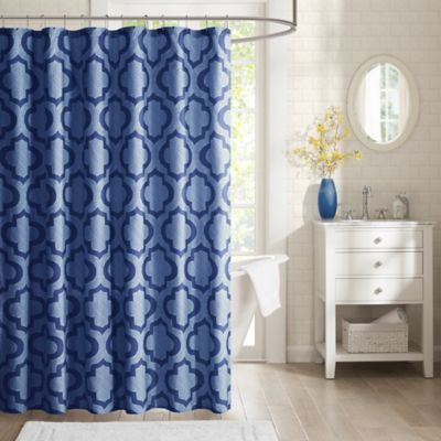 Intelligent Design Pilar Printed Shower Curtain in Navy