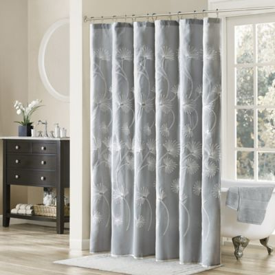 Madison Park Gwyneth 72-Inch x 72-Inch Embroidered Printed Shower Curtain in Grey