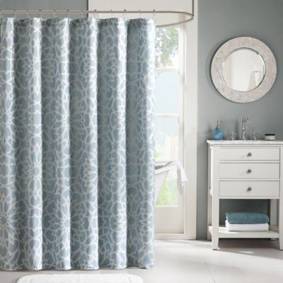 Madison Park Carlow 72-Inch x 72-Inch Jacquard Shower Curtain in Blue