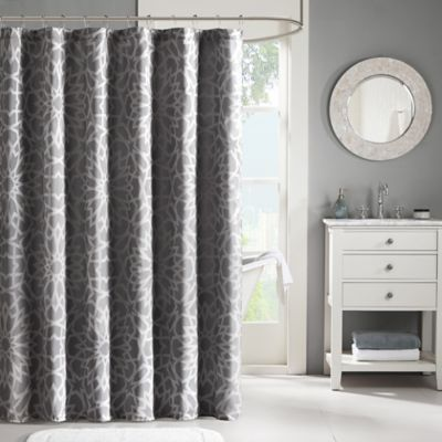 Madison Park Carlow 72-Inch x 72-Inch Jacquard Shower Curtain in Grey