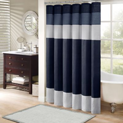 Madison Park Amherst 72-Inch x 72-Inch Shower Curtain in Navy