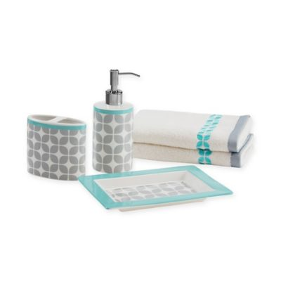 Intelligent Design Lita 5-Piece Bath Accessory Set in Grey/Teal