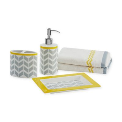 Intelligent Design Nadia 5-Piece Bath Accessory Set in Grey/Yellow