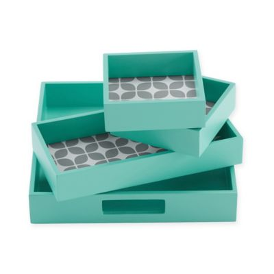 Intelligent Design Lita 4-Piece Decorative Tray Set in Teal