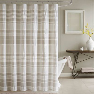 INK + IVY Lakeside Printed Shower Curtain in Grey/Aqua