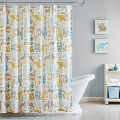 INK + IVY Kids Woodland Printed Shower Curtain in Aqua