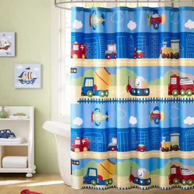 Mi Zone Kids Totally Transit Printed Shower Curtain in Blue
