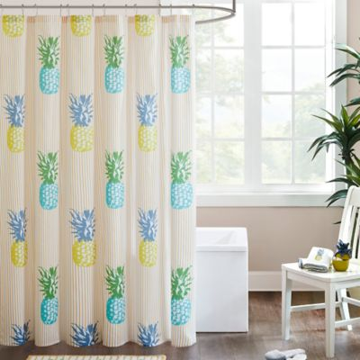 HipStyle Kona Printed Shower Curtain in Yellow
