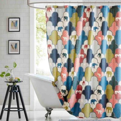 HipStyle Emma Printed Shower Curtain in Blue/Green