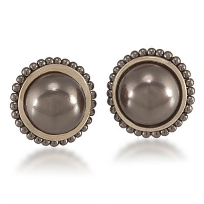 Carolee New York Nora Sable Pearl Button Clip-On Earrings