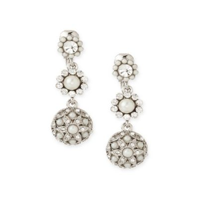 Carolee New York Peyton Pearl and Crystal Drop Clip-On Earrings