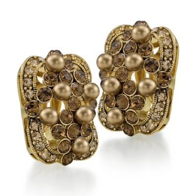Carolee New York Anabelle Gold Pearl and Crystal Button Clip-On Earrings