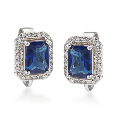 Carolee New York Simply Blue Rectangular Button Crystal Clip-On Earrings