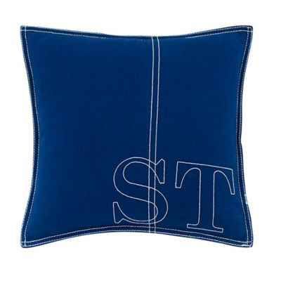 Southern Tide® Prep Plaid Embroidered Square Throw Pillow in True Blue