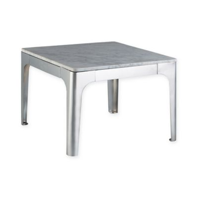 INK+IVY® Carrera End Table with Marble Top in Silver