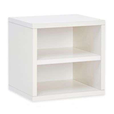 Way Basics Connect Open Storage Cube with Shelf in White