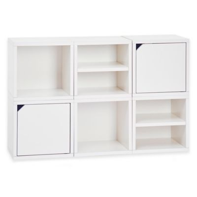 Way Basics Connect 6-Piece Stackable Modular Storage and Bookcase in White