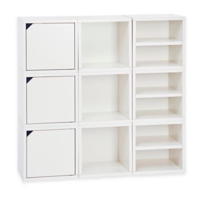 Way Basics Connect 9-Piece Stackable Modular Storage and Bookcase in White