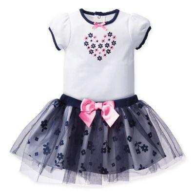 David Tutera™ Size 3-6M 2-Piece Daisy Toss Bodysuit and Skirt Set in Navy/White