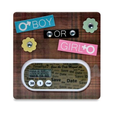 Countables® Boy or Girl Baby Due Countdown Timer with Magnet in Brown
