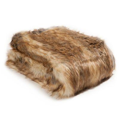 Wild Mannered Luxury Long Hair 36-Inch x 54-Inch Faux Fur Throw Blanket in Amber Fox