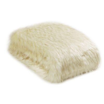 Wild Mannered Luxury Long Hair Faux Fur 36-Inch x 54-Inch Throw Blanket in Iced Fox