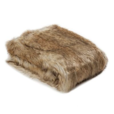 Wild Mannered Luxury Long Hair Faux Fur 60-Inch x 58-Inch Throw Blanket in Platinum Frost Fox