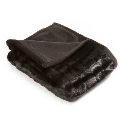 60-Inch x 58-Inch Faux Fur Mink Throw Blanket in Black