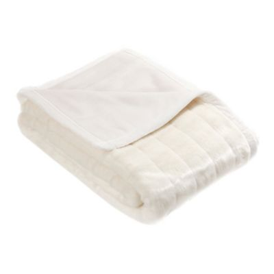 60-Inch x 58-Inch Faux Fur Mink Throw Blanket in White
