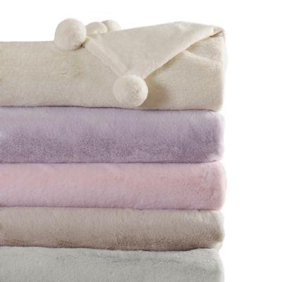 Luxe Faux Fur Pom Pom Throw Blanket in Light Pink