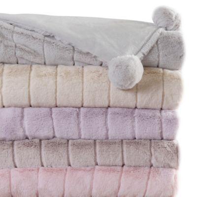 Luxe Mink Faux Fur Pom Pom Throw Blanket in Light Pink