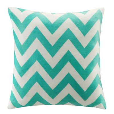 Intelligent Design Chevron Plush Square Decorative Pillow in Teal
