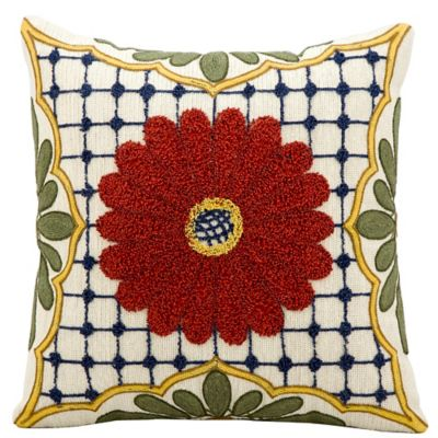 Kathy Ireland Home® by Gorham Rust Flower Square Throw Pillow in Ivory