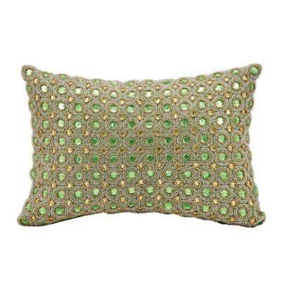 Buy Kathy Ireland Home by Gorham Beaded Oblong Throw Pillow in Green from Bed Bath & Beyond