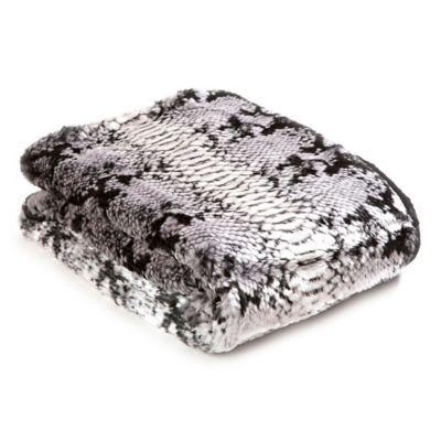 Snakeskin 60-Inch x 58-Inch Faux Fur Throw Blanket in Grey