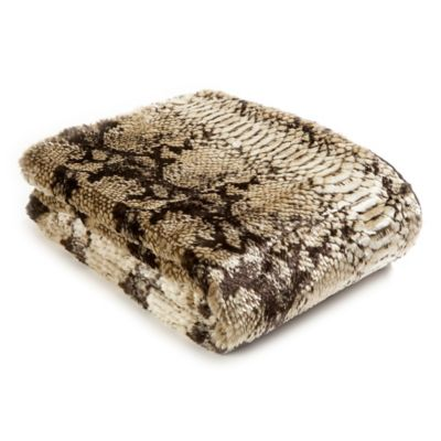 Snakeskin 60-Inch x 58-Inch Faux Fur Throw Blanket in Brown