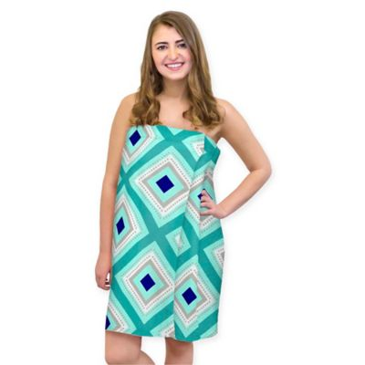Cotton Towel Geometric Large/Extra Large Shower Wrap in Teal