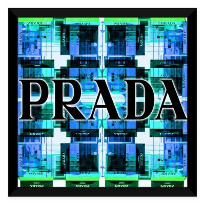 """BY Jodi """"Shop Prada"""" 28-Inch x 28-Inch Framed Acrylic Wall Art in Blue"""