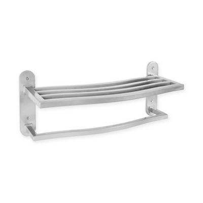 Grayson Bath Iron Wall Shelf with Towel Bar in Nickel